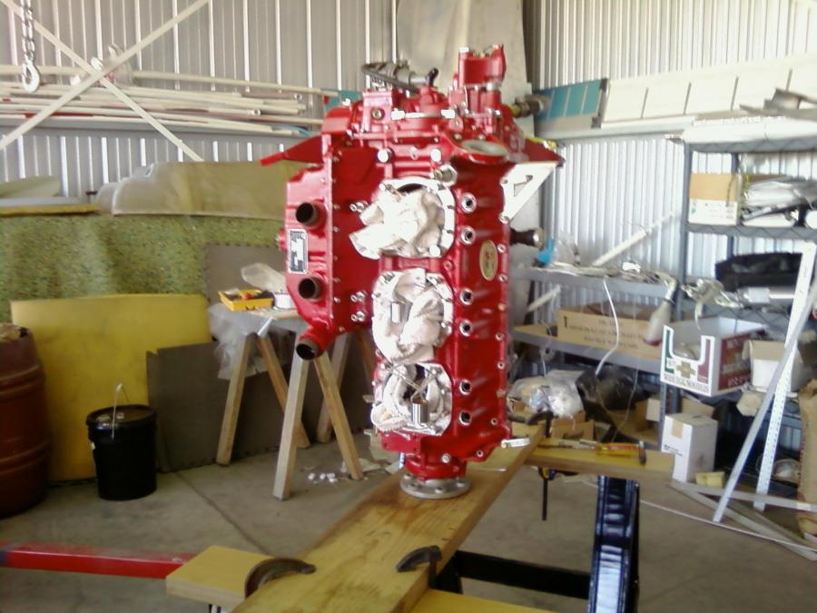 TMX-IO-540 on stand during re-assembly